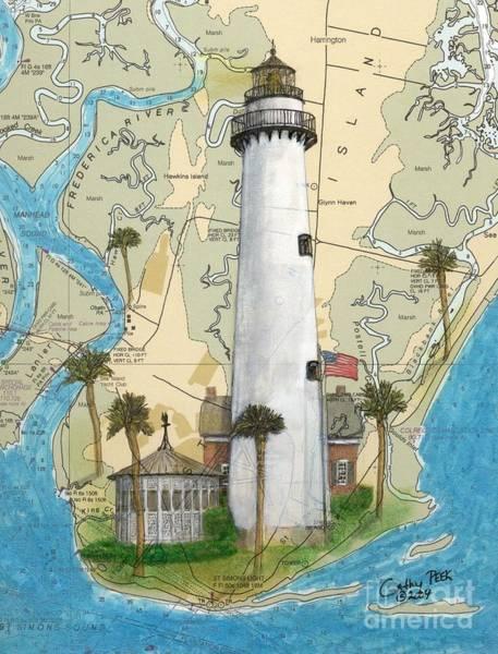 Wall Art - Painting - St Simons Lighthouse Ga Nautical Chart Map Art Cathy Peek by Cathy Peek