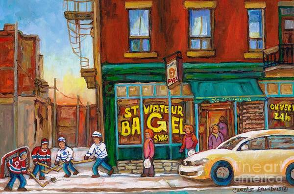 Painting - St. Viateur Bagel-boys Playing Street Hockey In Laneway-montreal Street Scene Painting by Carole Spandau