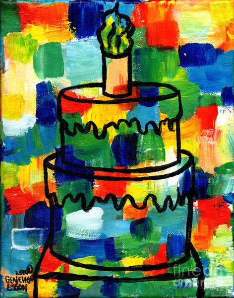 Icing Painting - Stl250 Birthday Cake Abstract by Genevieve Esson