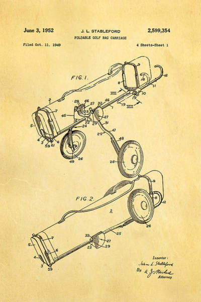 Golf Green Photograph - Stableford Golf Trolley Patent Art 1952 by Ian Monk