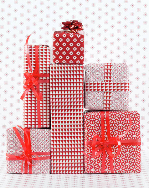 Gift Wrap Photograph - Stack Of Wapped Gifts by Muriel De Seze