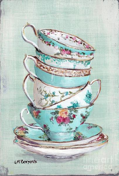 Vintage Wall Art - Painting - Stacked Aqua Themed Tea Cups by Gail McCormack