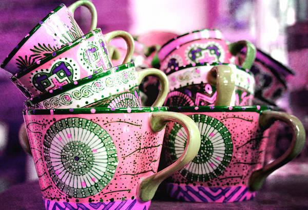 Coffee Mug Photograph - Stacked In Fuschia by Fraida Gutovich