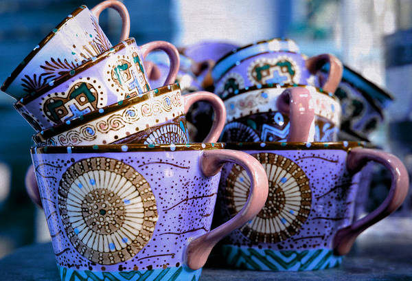 Coffee Mug Photograph - Stacked In Lilac by Fraida Gutovich
