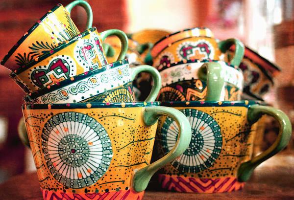 Coffee Mug Photograph - Stacked In Salmon by Fraida Gutovich