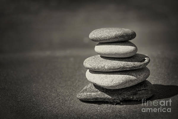 Stone Wall Art - Photograph - Stacked Pebbles On Beach by Elena Elisseeva