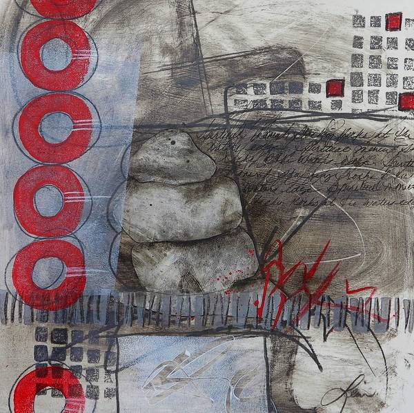 Abstract Mixed Media - Stacking Rock Red I by Laura  Lein-Svencner