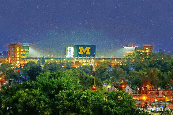 Arbor Wall Art - Painting - Stadium At Night by John Farr