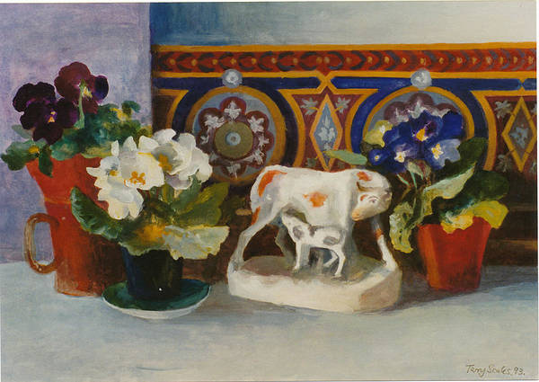Wall Art - Painting - Staffordshire Cow With Primulaes by Terry Scales