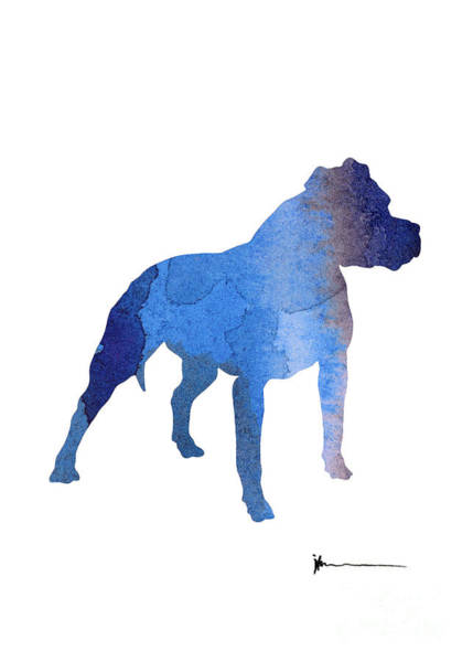 Staffordshire Wall Art - Painting - Staffordshire Terrier Silhouette Large Poster by Joanna Szmerdt