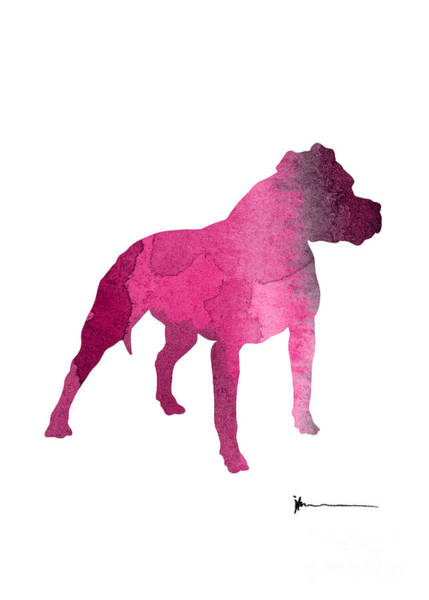 Staffordshire Wall Art - Painting - Staffordshire Terrier Watercolor Art Print Painting by Joanna Szmerdt