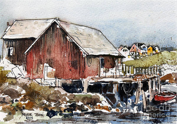 Painting - Stage At Peggys Cove by Monte Toon