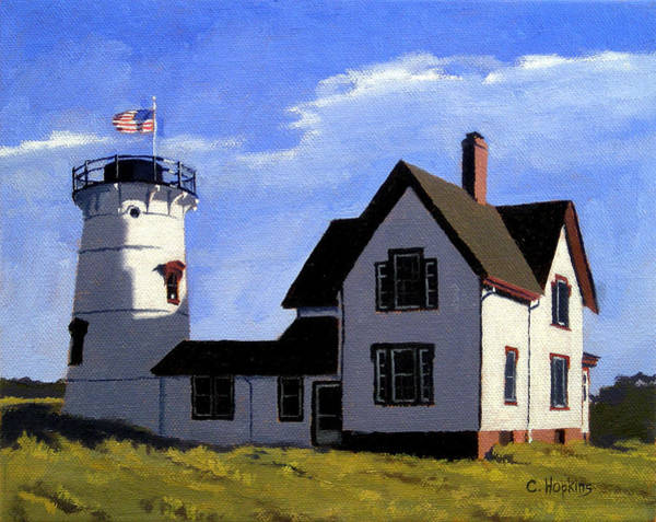 Sand Creek Painting - Stage Harbor Lighthouse Cape Cod Massachusetts by Christine Hopkins