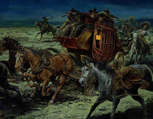 Wall Art - Painting - Stagecoach Attack by Don  Langeneckert