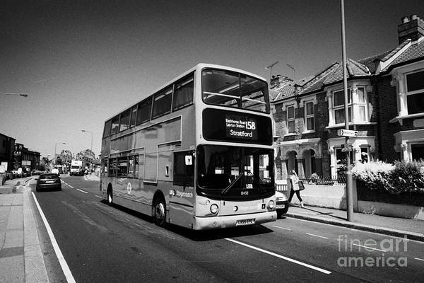Stagecoach Photograph - stagecoach red double deck bus in london suburbs London England UK by Joe Fox