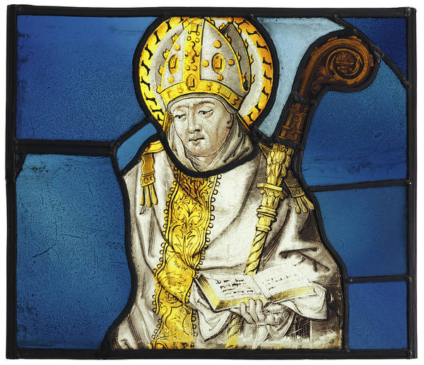 Wall Art - Painting - Stained Glass Bishop, C1500 by Granger