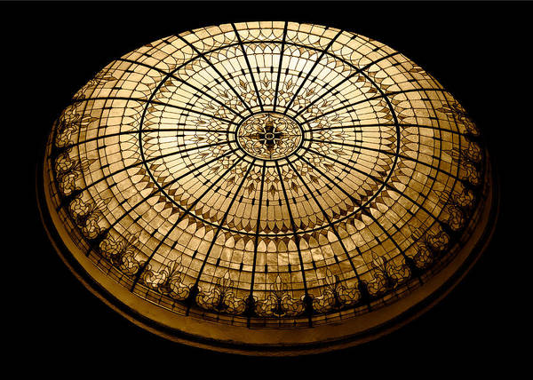 Stained Glass Dome - Sepia Art Print