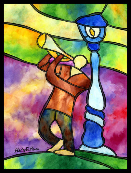 Stained Glass Wall Art - Painting - Stained Glass Jazzman by Hailey E Herrera