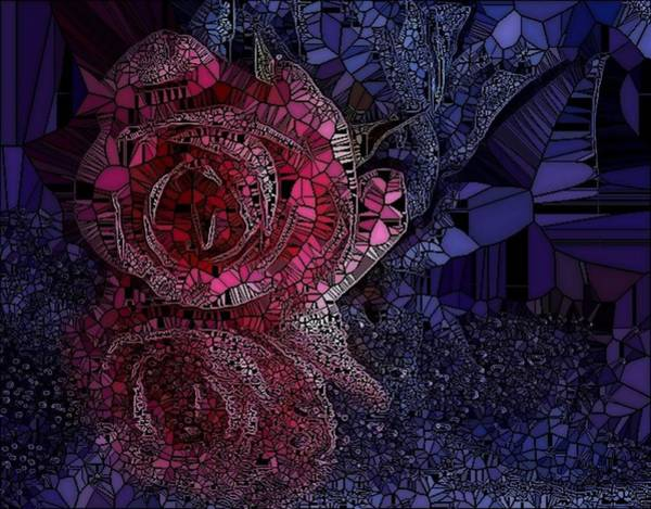 Digital Art - Stained Glass Rose  by Catherine Lott