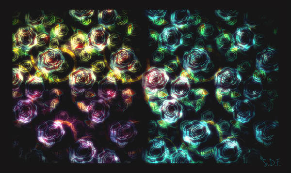 Digital Art - Stained Glass Roses by Sherry Flaker