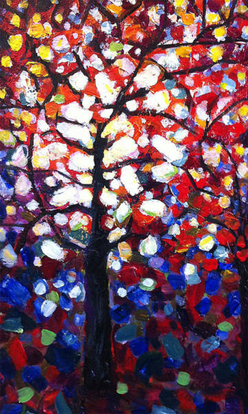 Stained Glass Painting - Stained Glass Tree by Mary Medrano