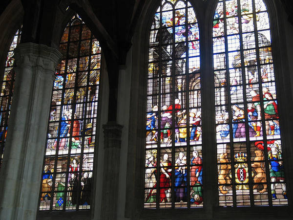 Photograph - Stained Glass Window Of Oude Kerk by Gerry Bates