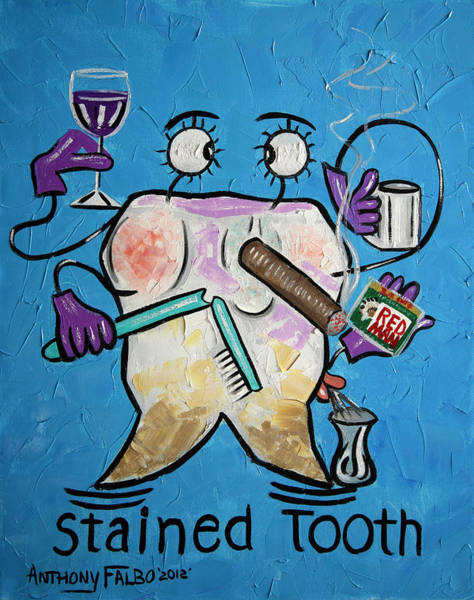 Chewing Wall Art - Painting - Stained Tooth by Anthony Falbo