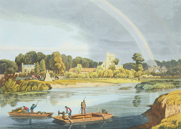 Fishing Drawing - Staines Church With City Stone On Banks by William Havell
