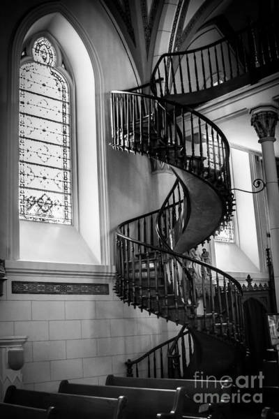 Loretto Chapel Photograph - Staircase Black And White by Jim McCain