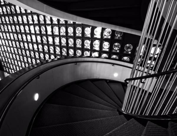 Country Music Hall Of Fame Wall Art - Photograph - Staircase In Black And White by Dan Sproul