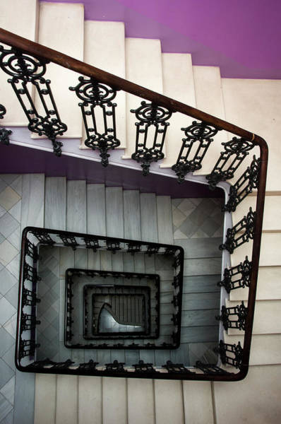 Vertical Perspective Photograph - Staircase In Purple Nest Hostel by Krzysztof Dydynski