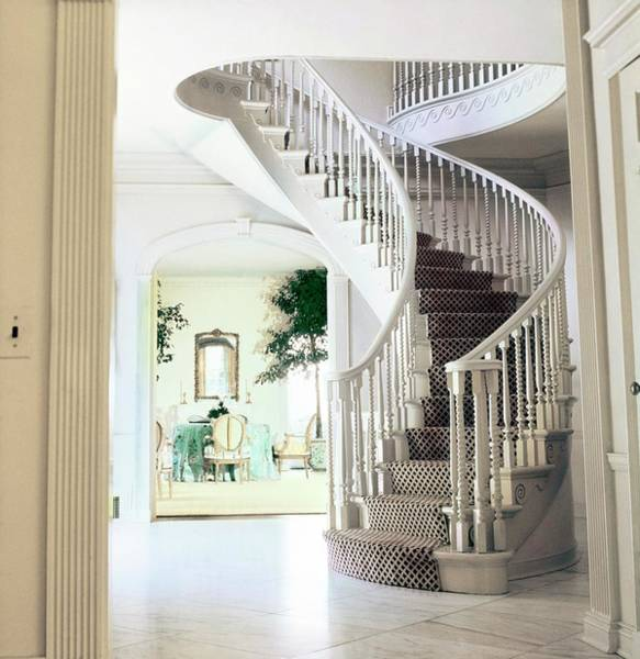 Curve Photograph - Staircase In The Blair's Hallway by Horst P. Horst