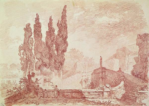 Wall Art - Drawing - Staircase In The Gardens Of The Villa Deste, Tivoli by Jean-Honore Fragonard