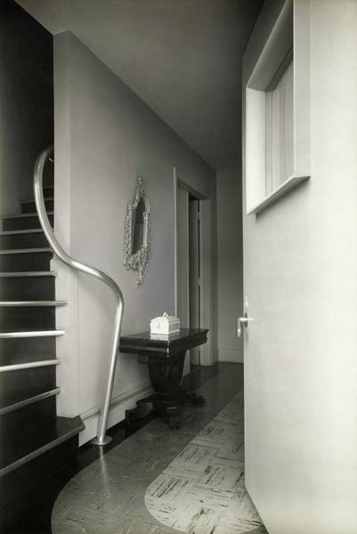 Tile Floor Photograph - Staircase With A Pipe Handrail by Tom Leonard