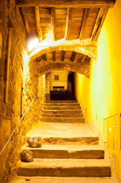 Stairs In Montepulciano At Night Art Print by Jakob Montrasio