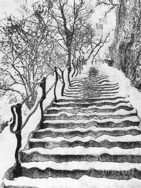 Stairs In Winter Art Print