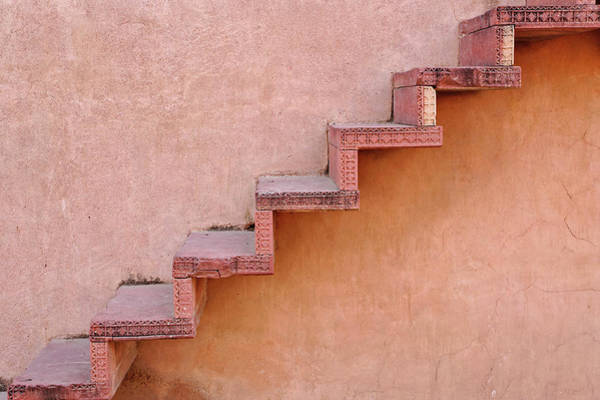 Edifice Photograph - Stairs On Wall, Fatehpur Sikri by Adam Jones