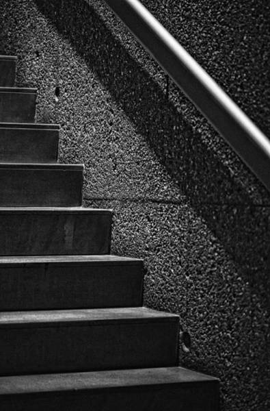 Photograph - Stairs Phoenix Art Musuem Monochrome by Bob Coates