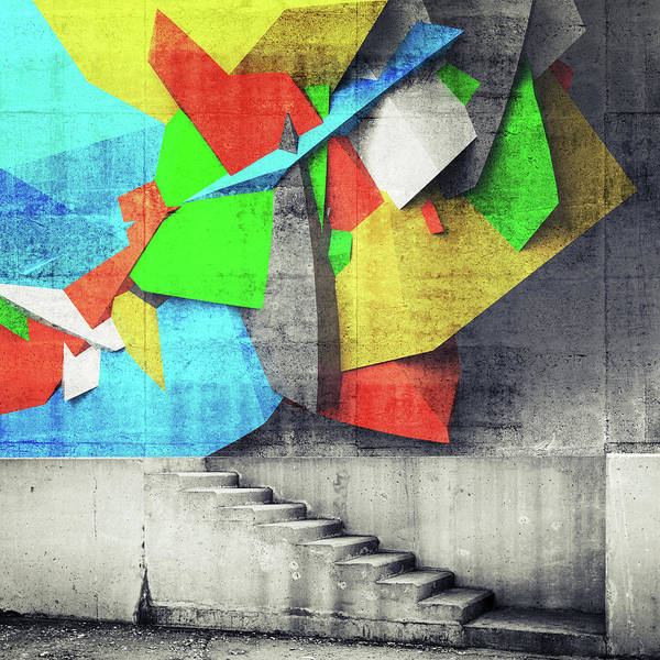 Photograph - Stairway And Abstract Graffiti Fragment by Evgeny Sergeev