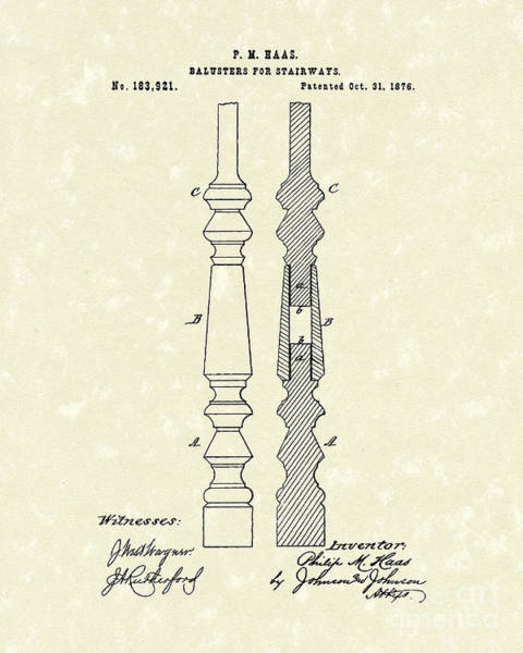 Baluster Wall Art - Drawing - Stairway Baluster 1876 Patent Art by Prior Art Design