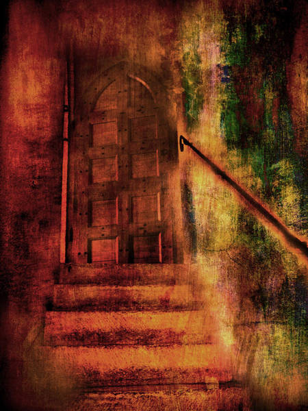 Photograph - Stairway To Arched Door by Bob Coates