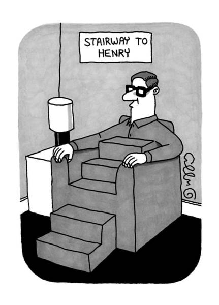 Drawing - Stairway To Henry -- A Man Sitting In A Sofa by J.C.  Duffy
