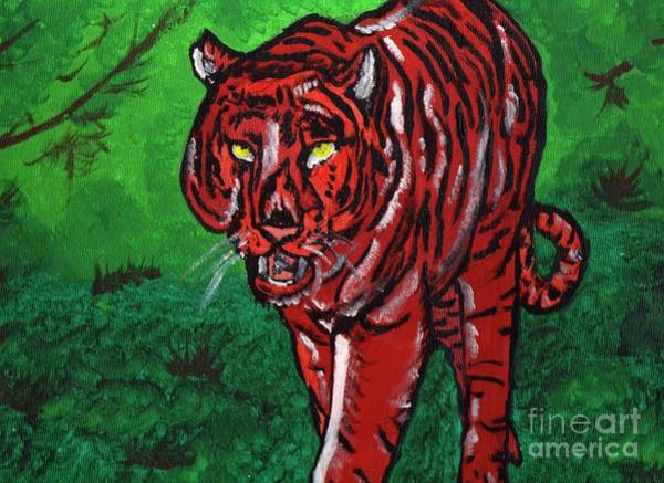 11x14 Painting - Stalking Tiger by Robert Garris