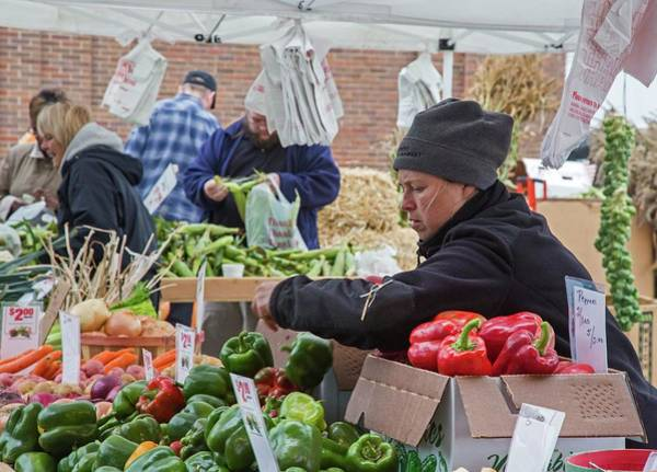 Bell Peppers Photograph - Stall At Farmers' Market by Jim West