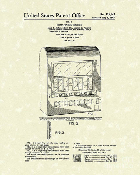Drawing - Stamp Vending 1963 Patent Art by Prior Art Design