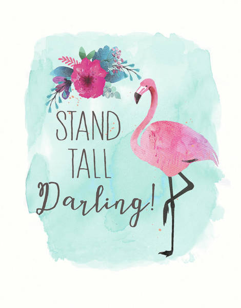Flamingo Watercolor Painting - Stand Tall by Jo Moulton