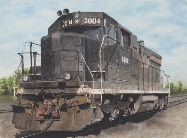 Diesel Trains Painting - Standing Idle by Stacy Crane