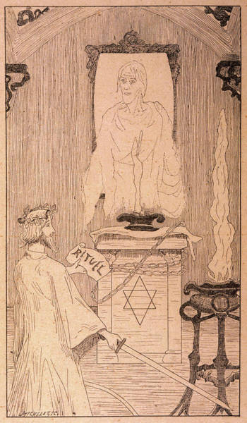 Summoning Wall Art - Drawing - Standing In A Magic Circle,  Manual by Mary Evans Picture Library