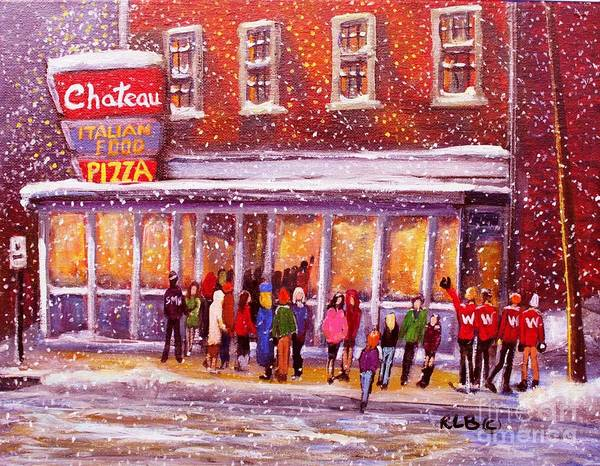 The Restaurant Painting - Standing In Line At The Chateau by Rita Brown