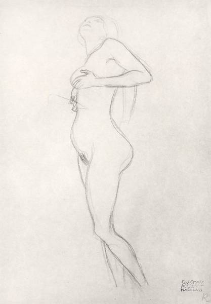 Sensual Drawing - Standing Nude Girl Looking Up by Gustav Klimt